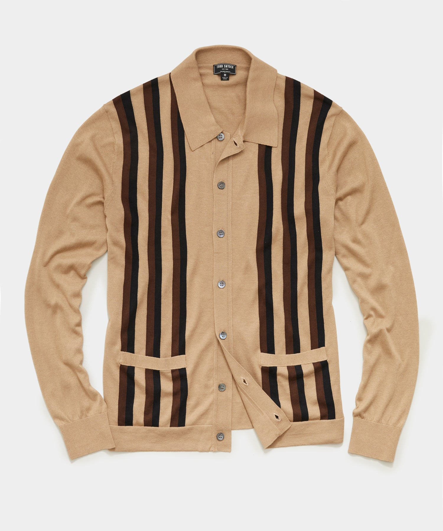 Long Sleeve Striped Button Down Sweater Polo in Khaki