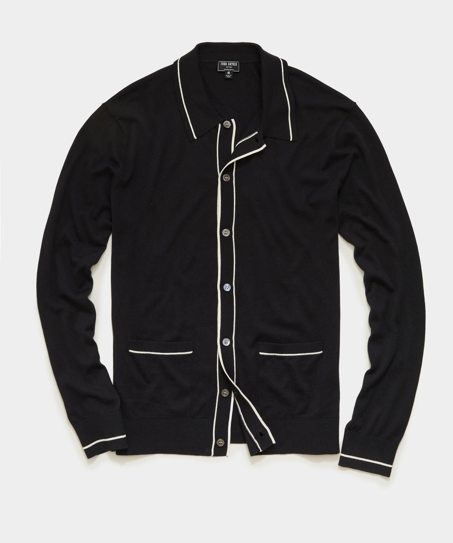 Long Sleeve Button Down Sweater Polo in Black