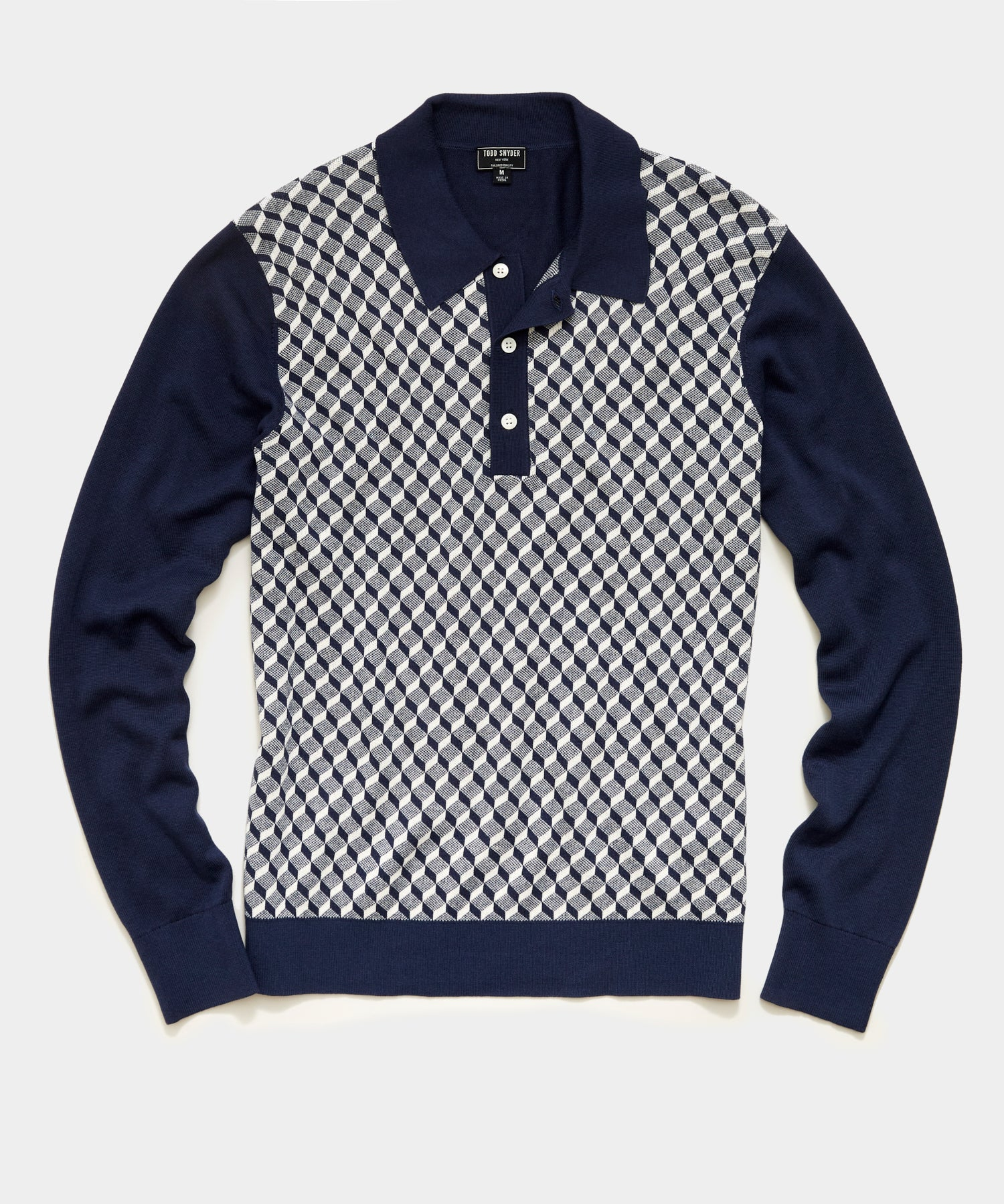 Long Sleeve Geo Pattern Sweater Polo in Navy