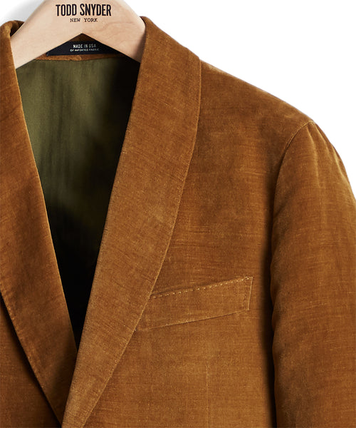 Made in USA Unconstructed Velvet Sport Coat in Autumn Mustard