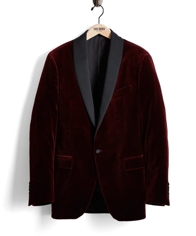 Made in USA Velvet Shawl Collar Dinner Jacket in Burgundy