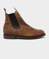 Sanders Waxy Suede Chelsea Boot in Brown Oil