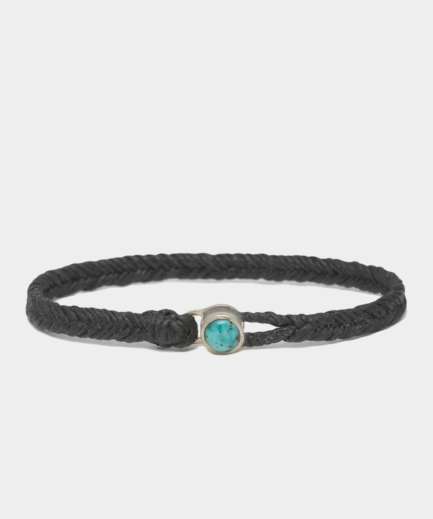 Scoshsa Classic Fishtail Bracelet with Turquoise Button in Black