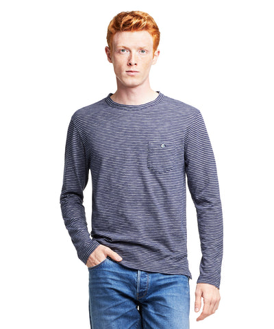 Long Sleeve Striped T-Shirt in Navy