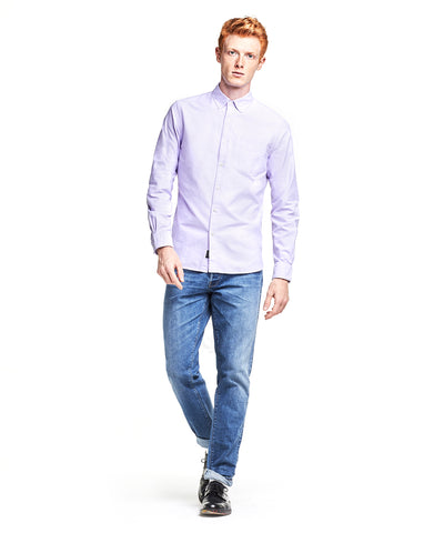 Japanese Selvedge Oxford Button Down Shirt in Lavender