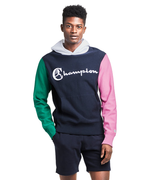 Champion Colorblock Hoodie in Navy