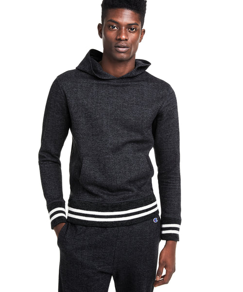 Champion Italian Wool Herringbone Popover Hoodie in Charcoal