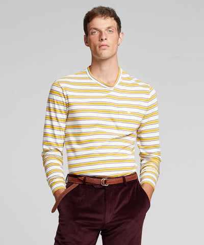 Long Sleeve Grant Stripe Pocket Tee in Gold