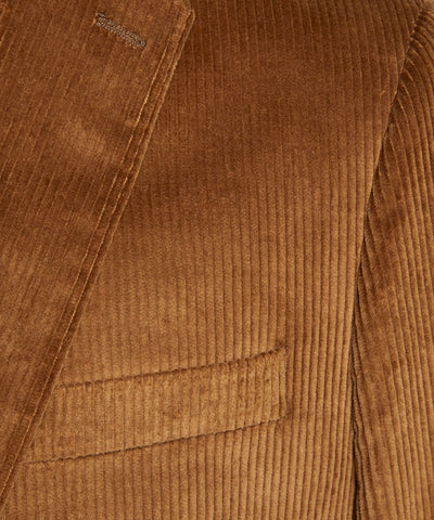Italian Stretch Cord Sutton Suit Jacket in Camel