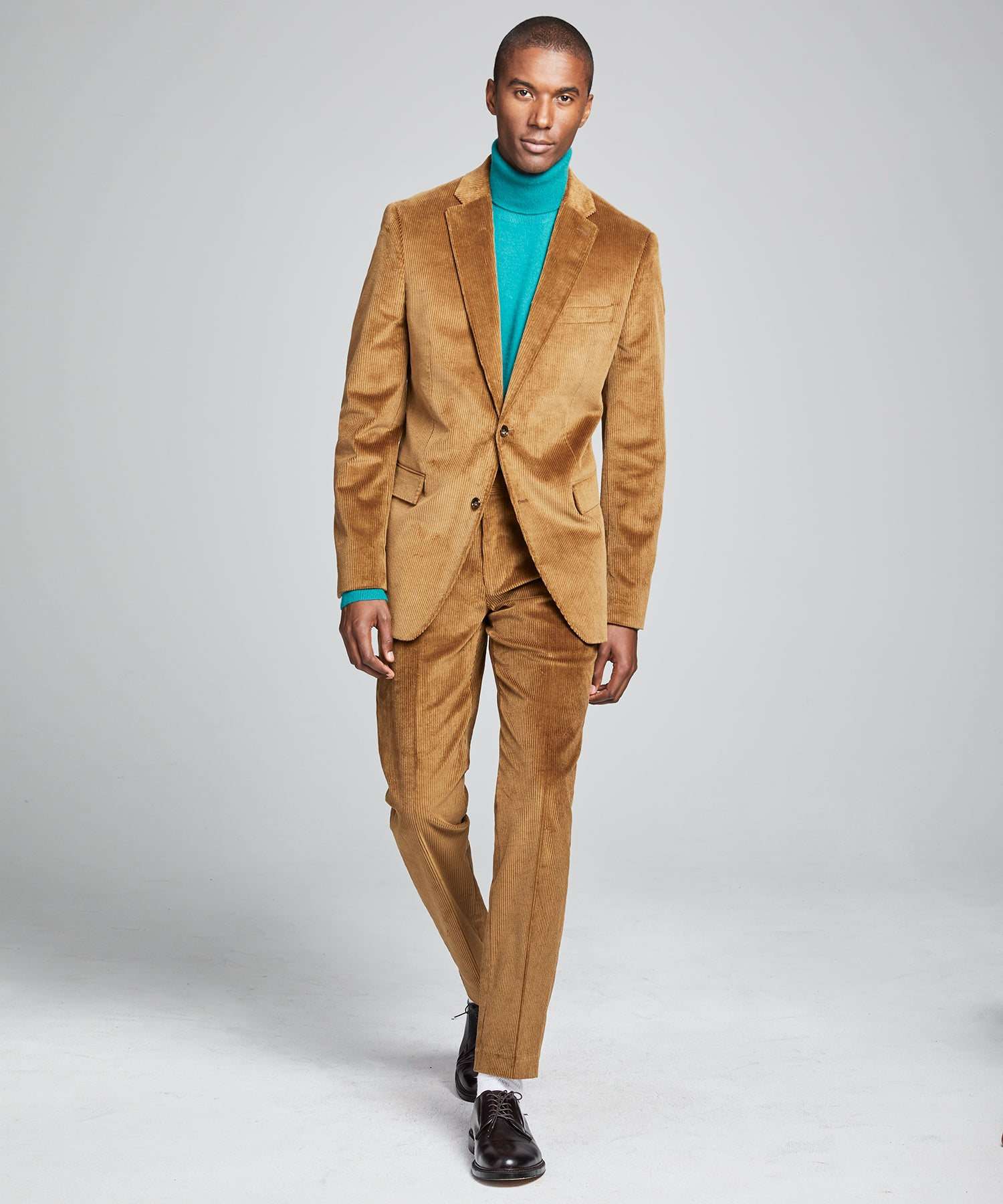 Italian Stretch Cord Sutton Suit in Camel