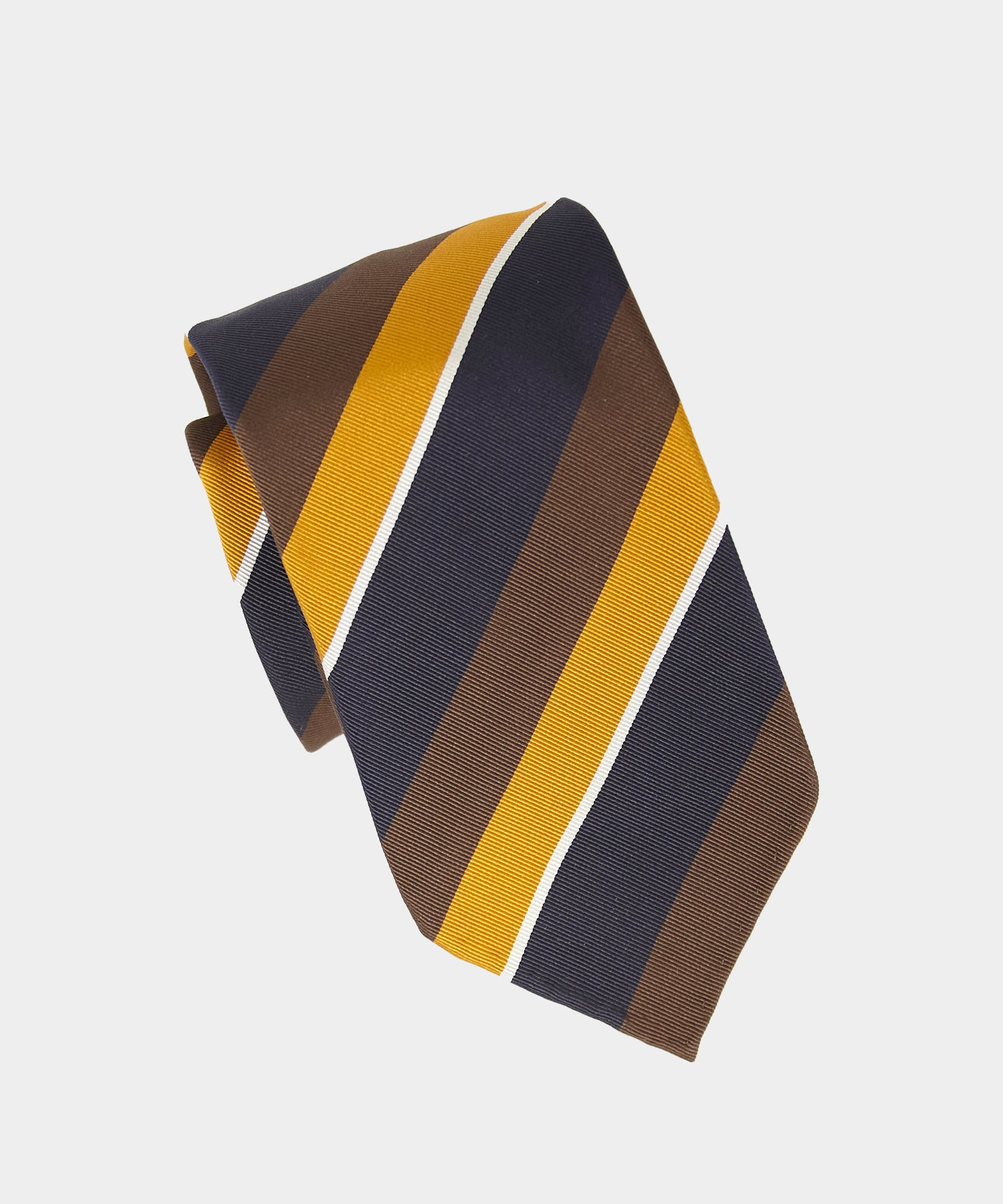 Drake's Navy, Brown and Yellow Striped Tie
