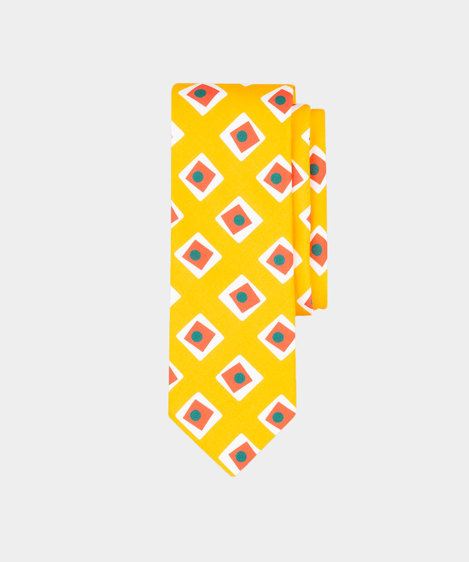 Drake's Yellow Silk Tie With Red Squares
