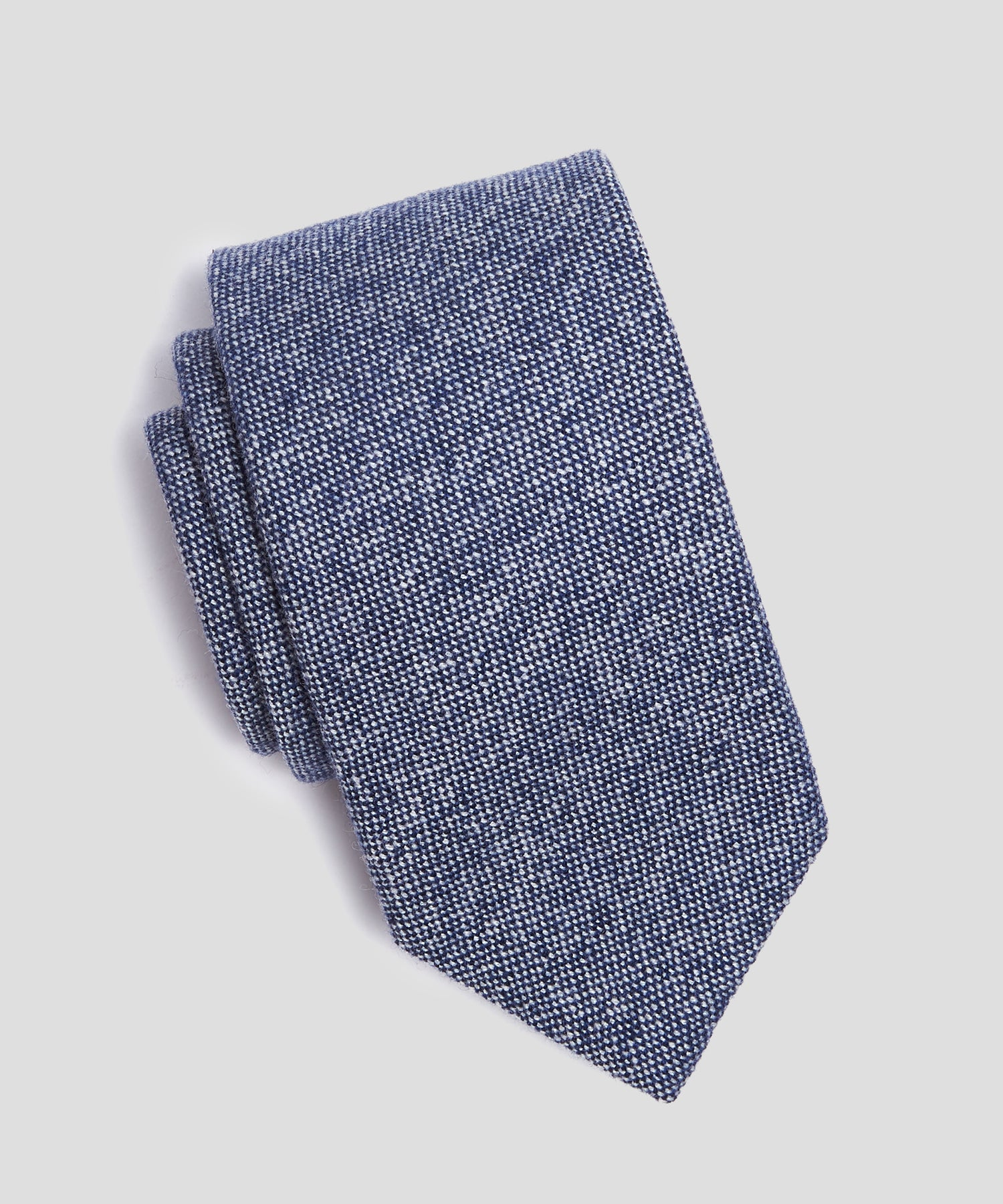 Drake's Cashmere Textured Tie in Blue