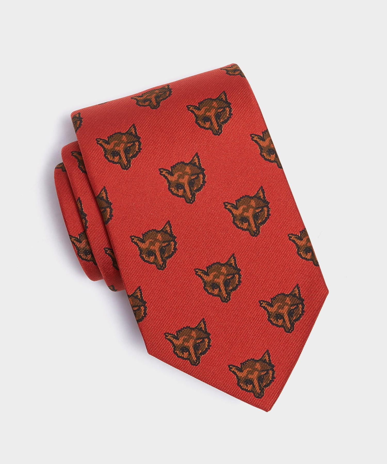 Drake's Red Fox Print Silk Tie