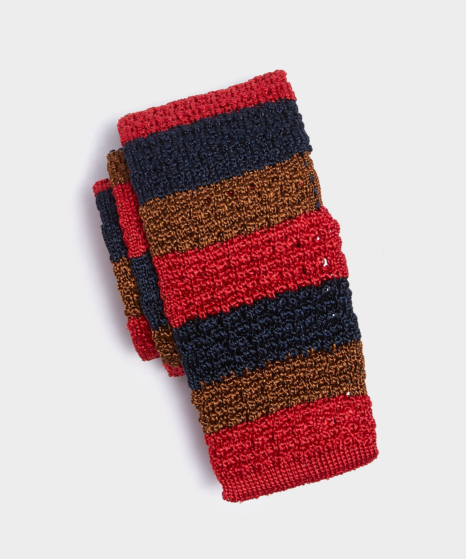 Drake's Knit Stripe Tie in Red