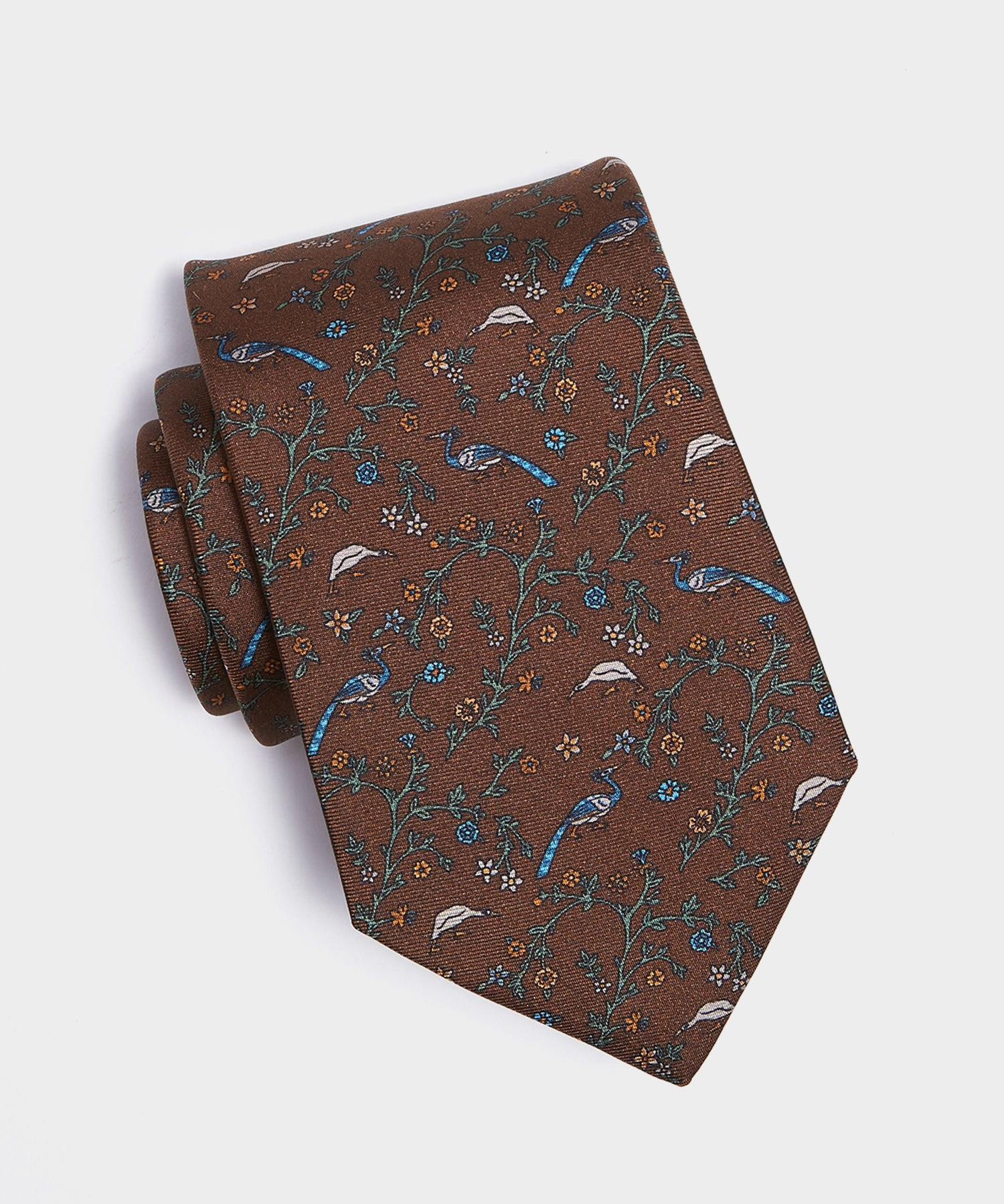 Drake's Silk Birds of Paradise Tie in Brown
