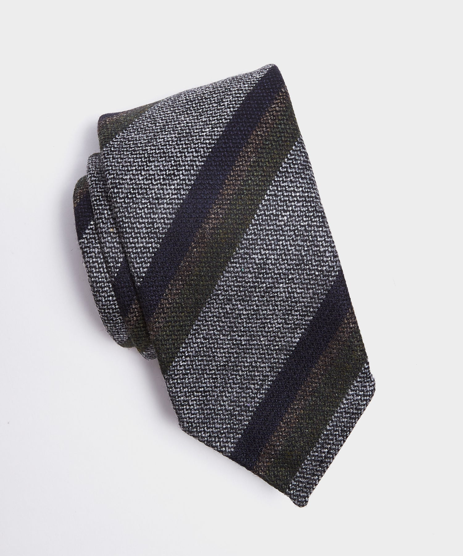 Drake's Texture Stripe Tie in Grey/Olive