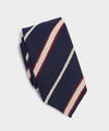 Drake's Boucle Striped Tie in Navy