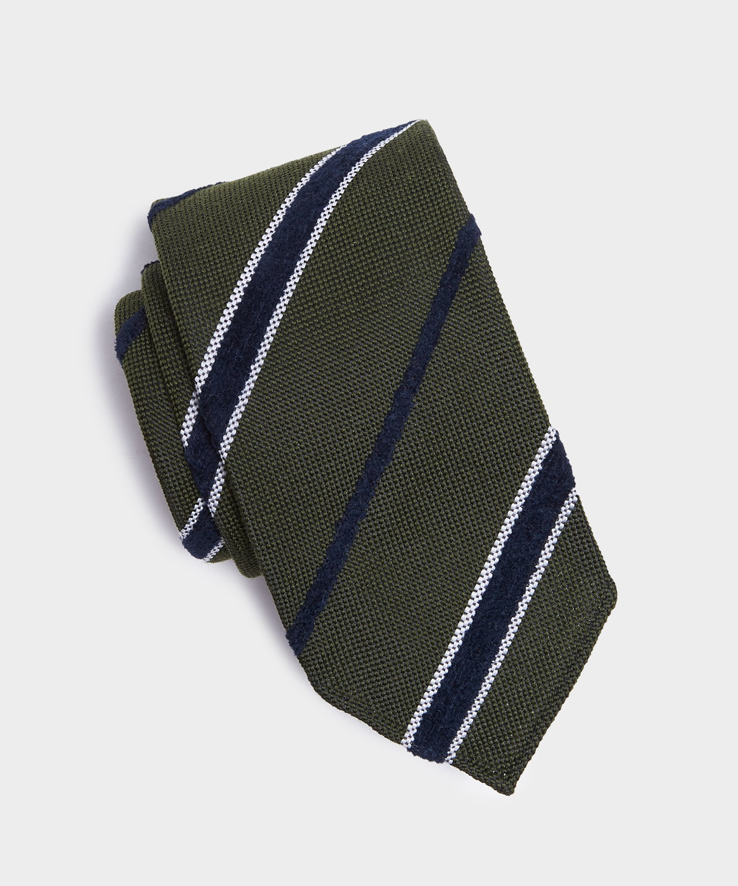 Drake's Boucle Striped Tie in Olive