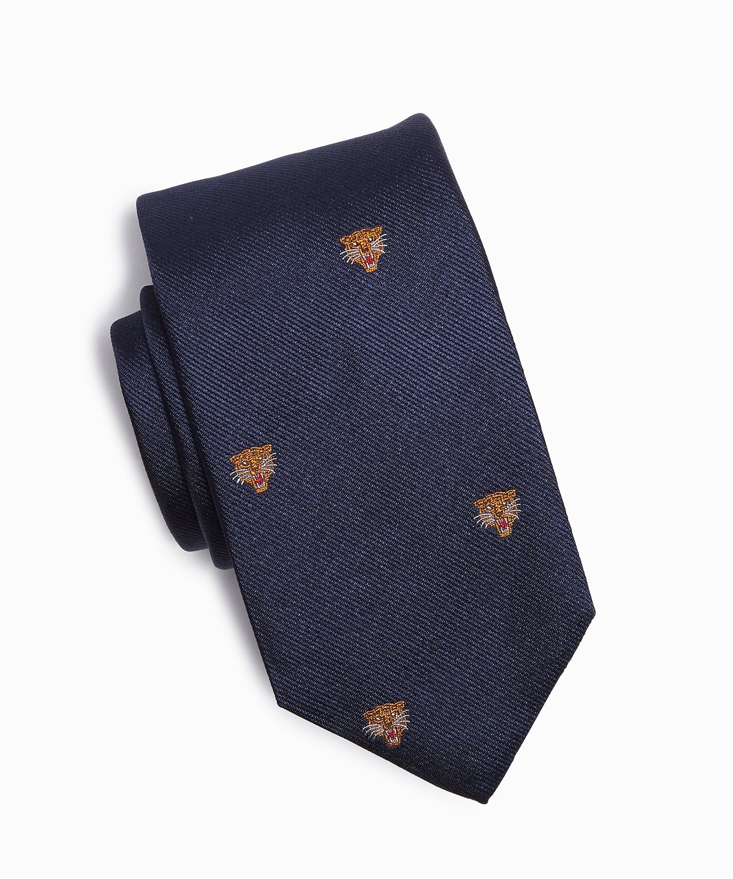Drake's Tiger Head Motif Silk Tie in Navy