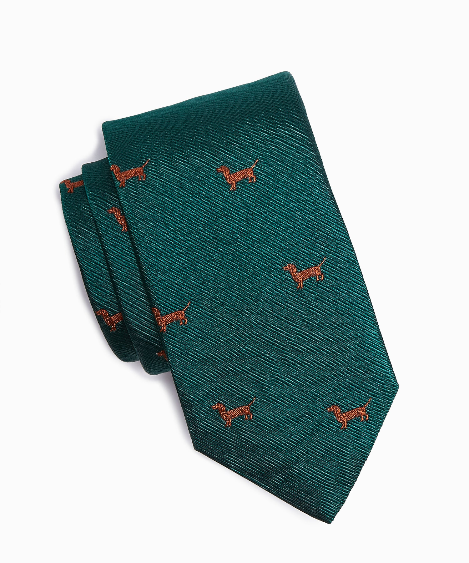 Drake's Dachshund Dog Tie in Green Silk