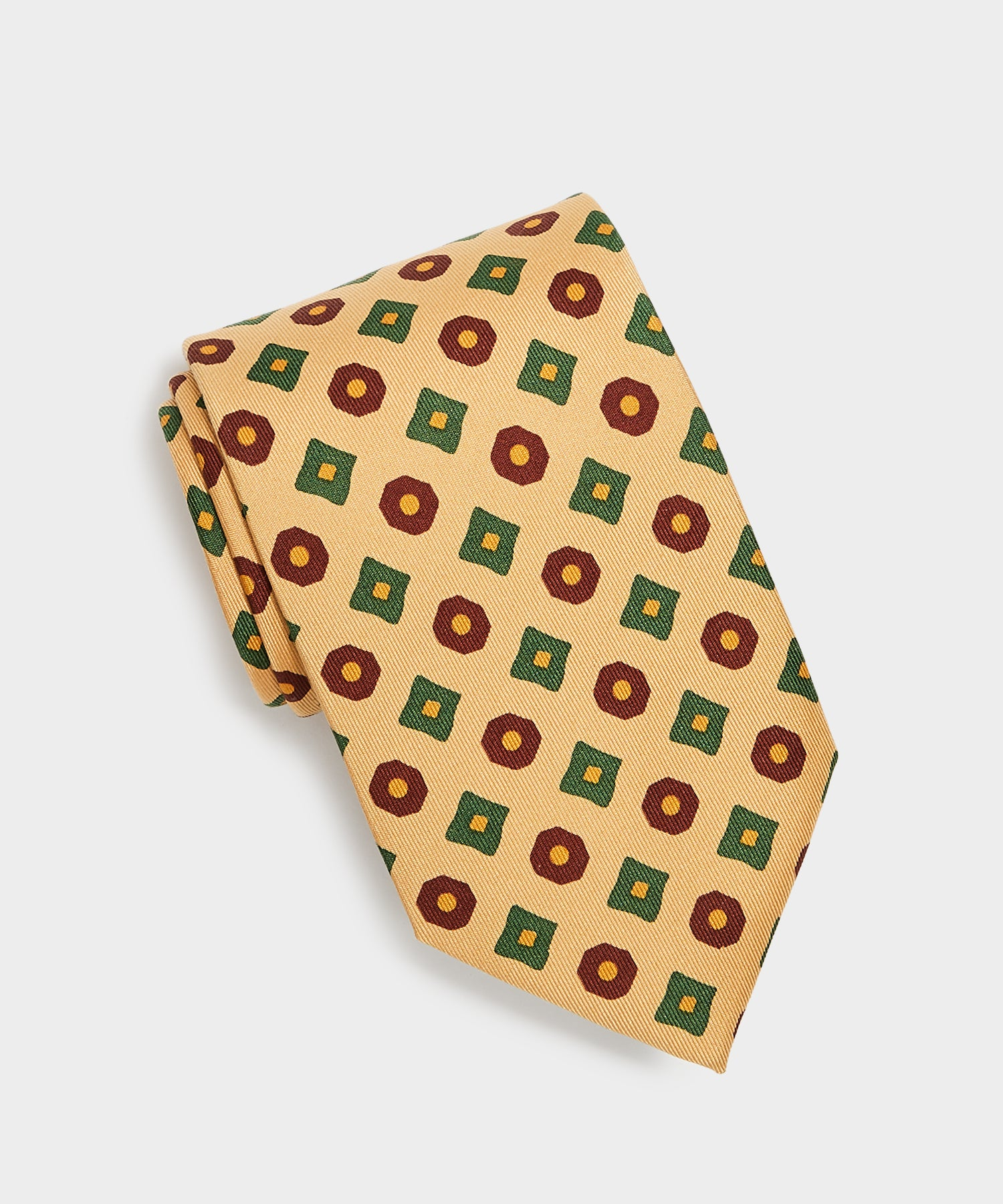 Drake's Madder Square Circle Tie in Tan