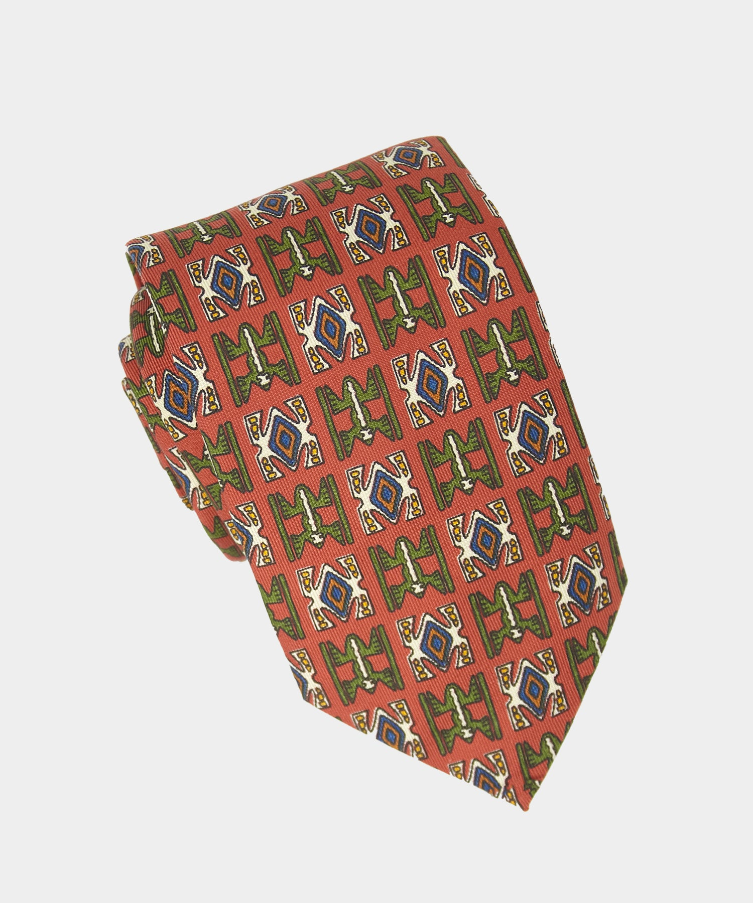 Drake's Aztec Silk Print Tie in Red