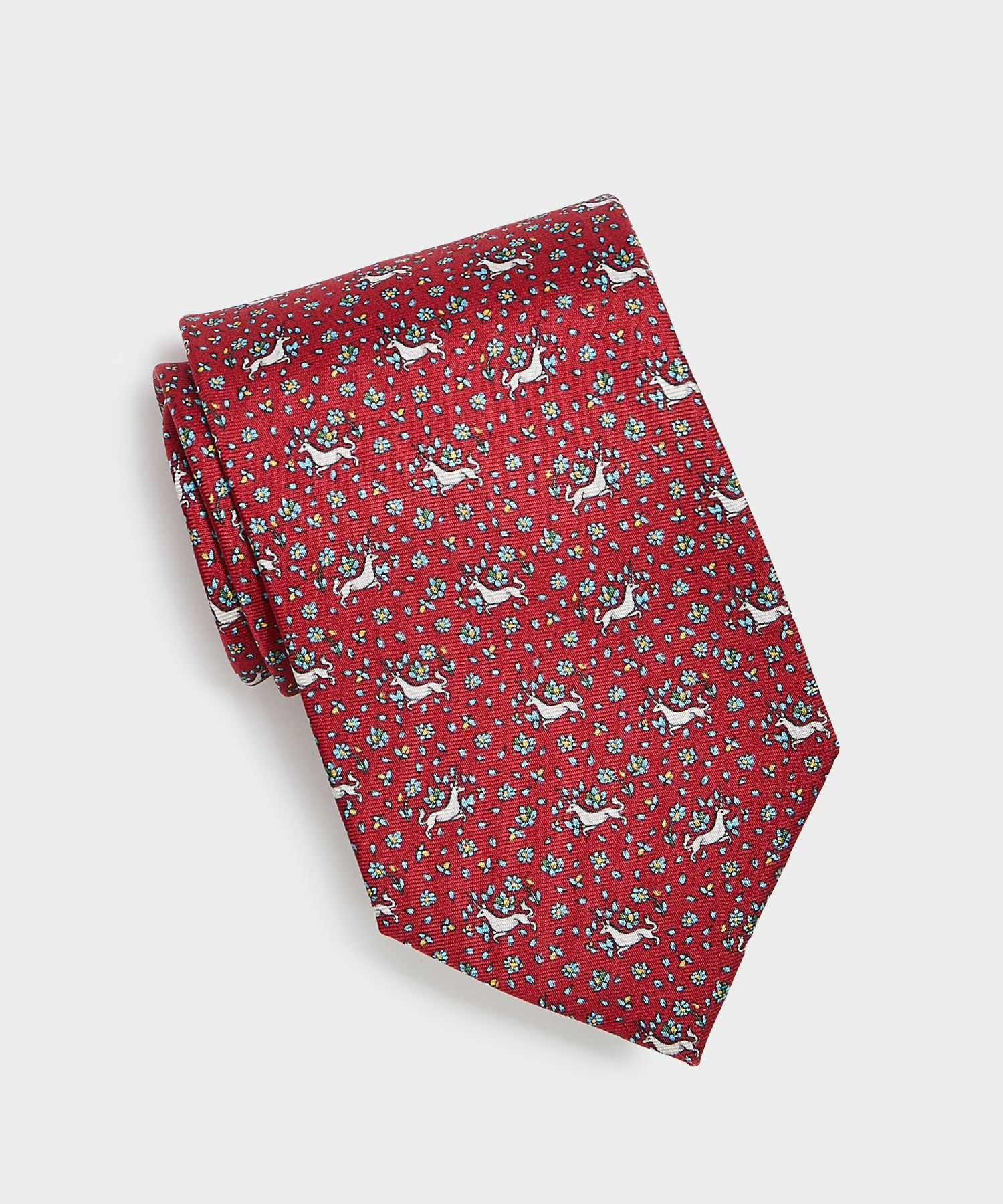 Drake's Unicorn Print Silk Tie in Red