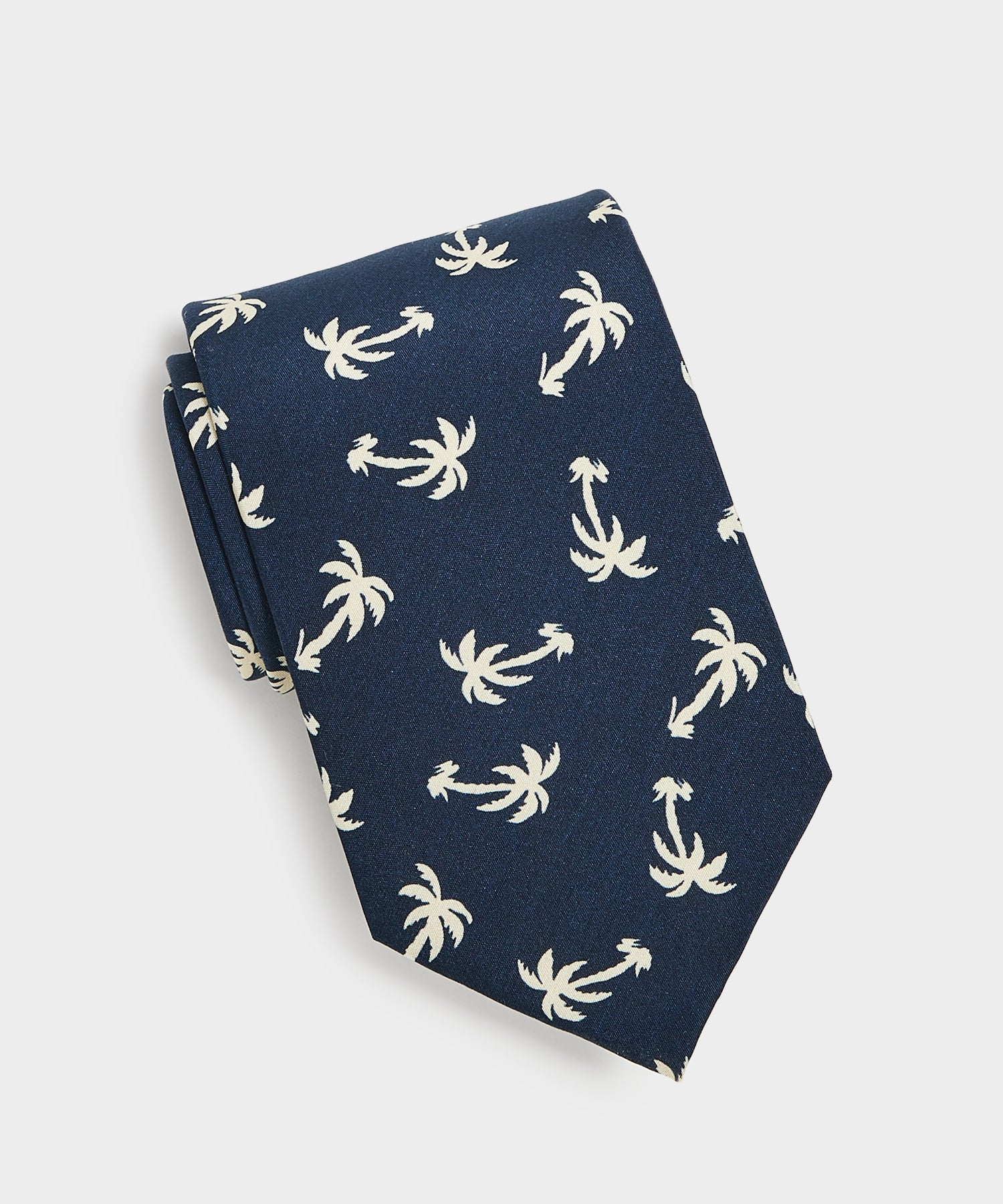 Drake's Palm Tree Print Silk Tie in Navy
