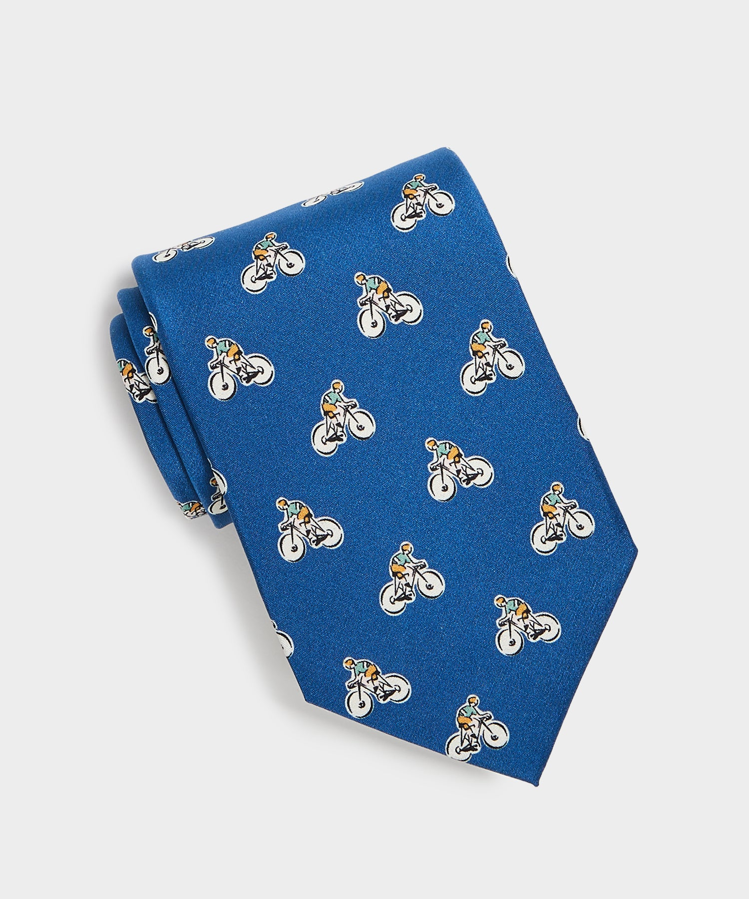 Drake's Bicycle Print Tie in Blue