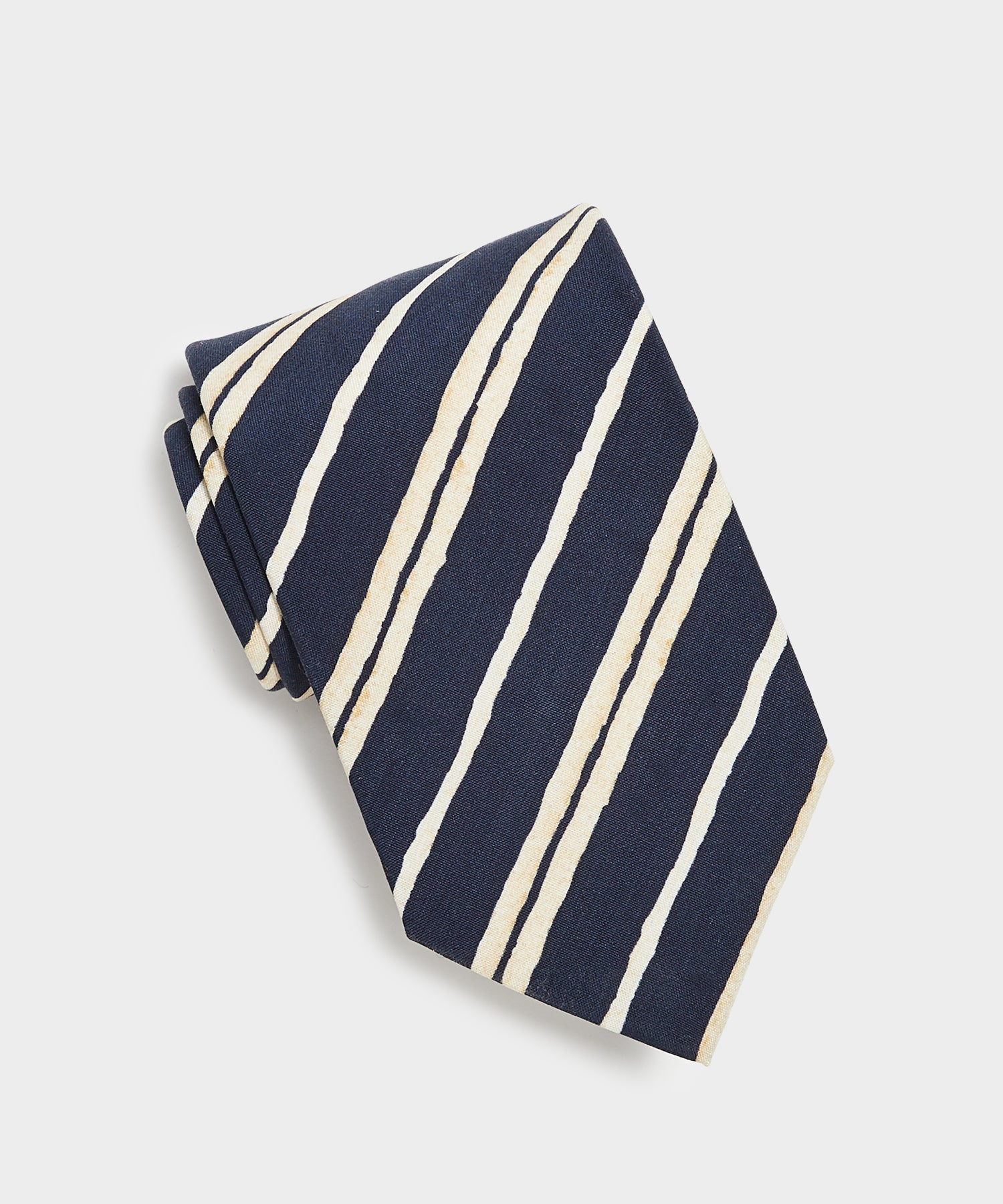 Drake's Double Stripe Tie in Navy