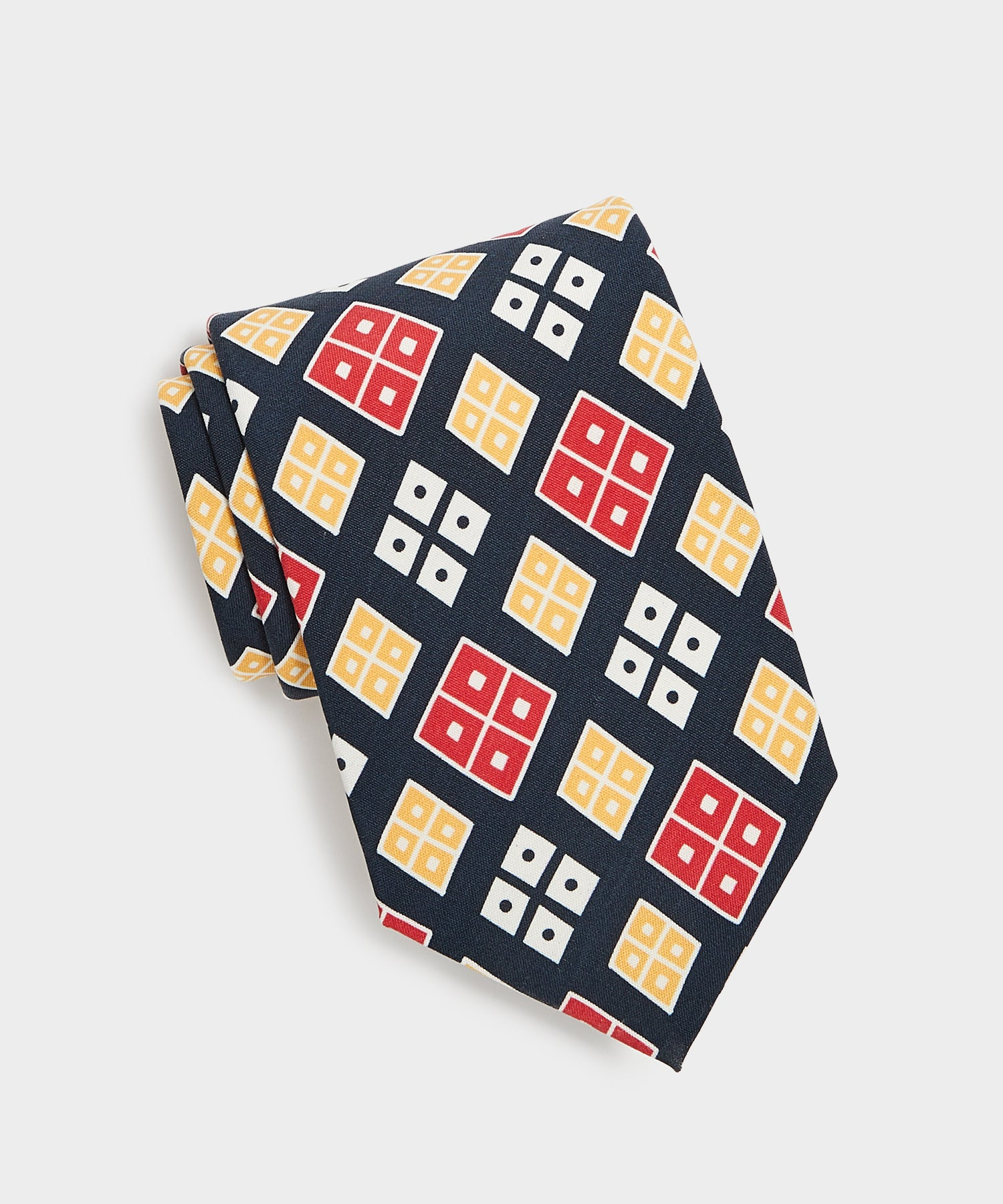 Drake's Silk Square Dot Tie in Navy