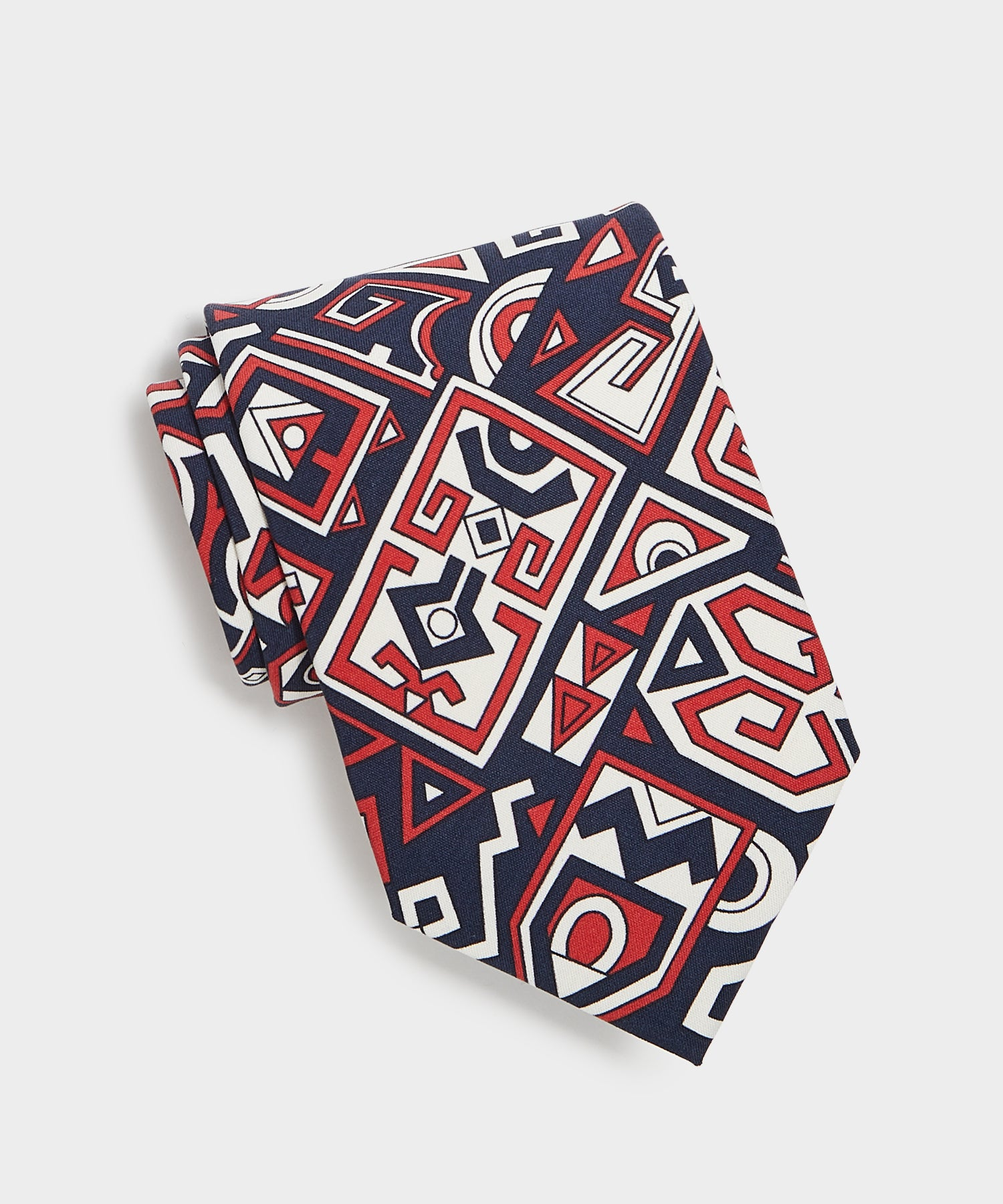 Drake's Abstract Print Tie in Navy