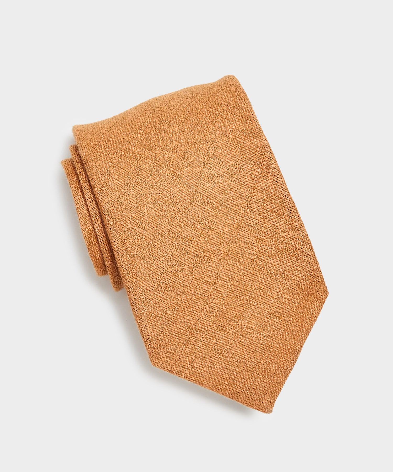 Drake's Textured Linen Tie in Tan