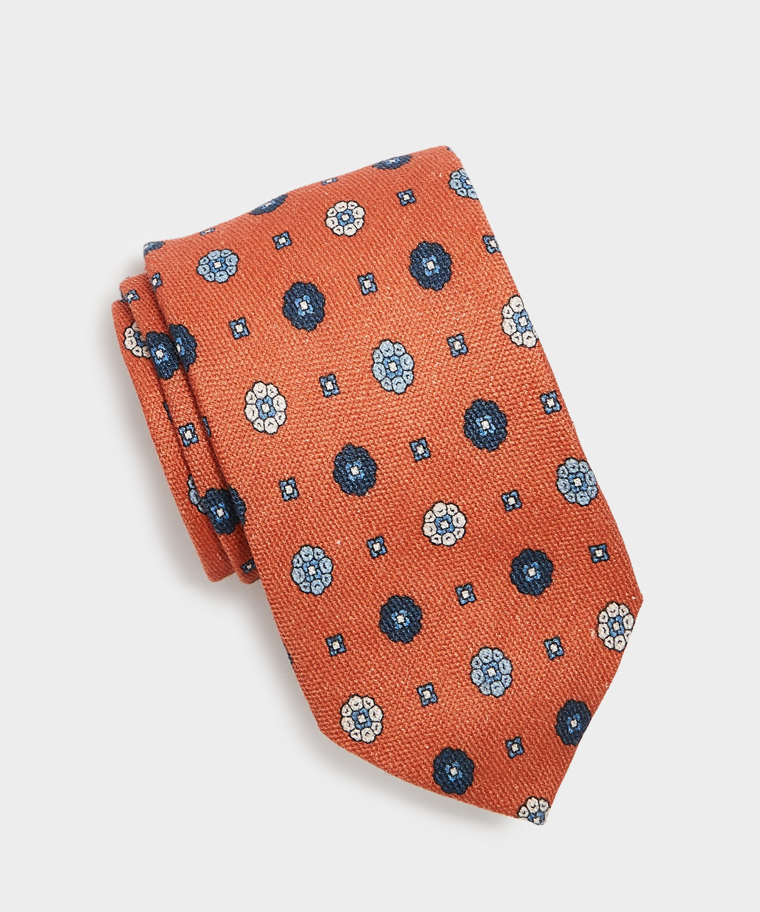 Drake's Printed Daisy Print Tie in Orange
