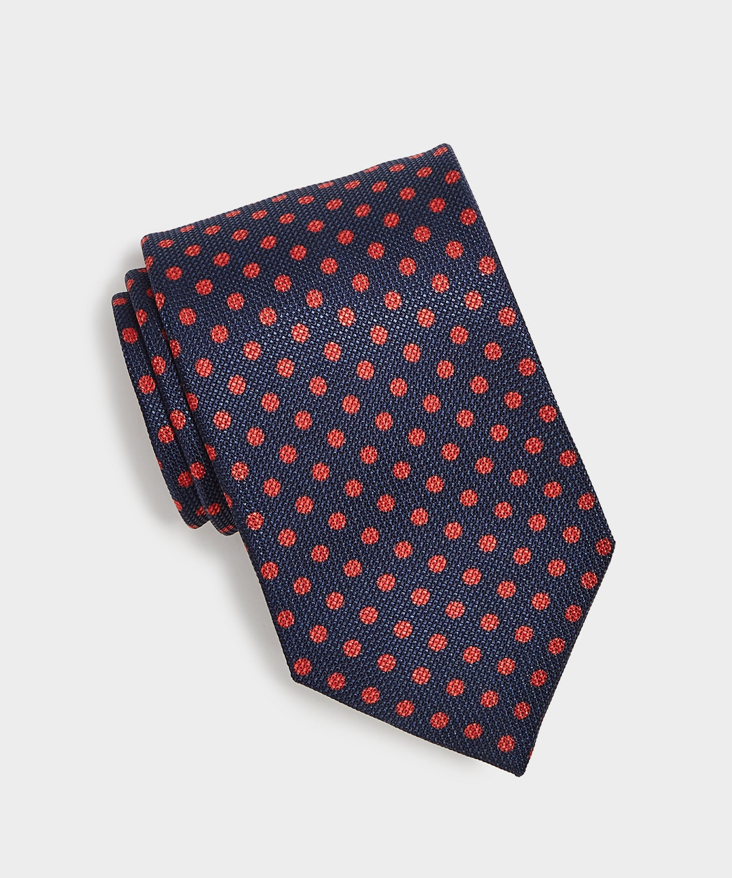 Drake's Red Polka Dot Tie in Navy