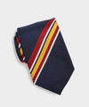 Drake's Collegiate Silk Stripe Tie in Navy