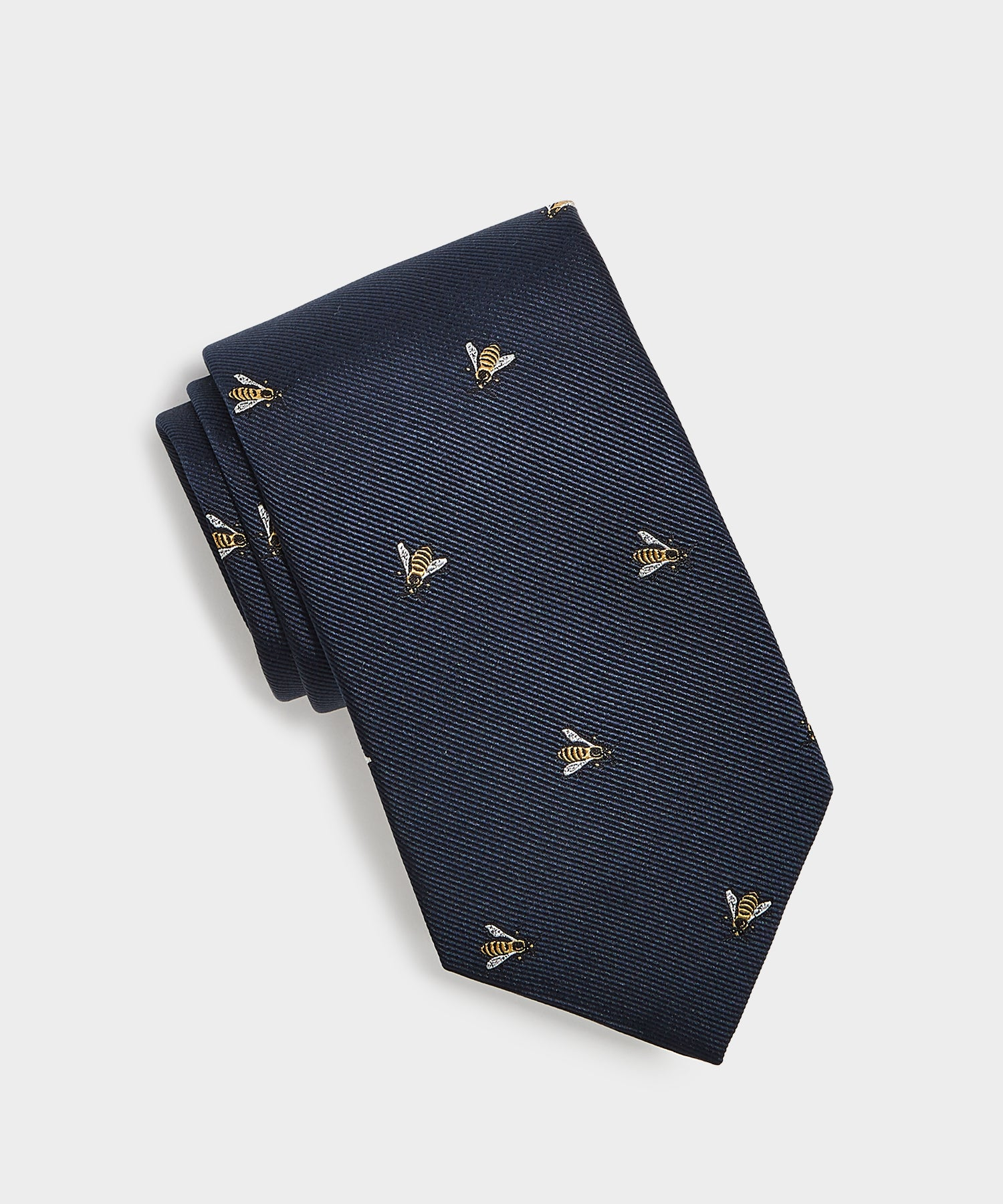 Drake's Embroidered Bee Tie in Navy