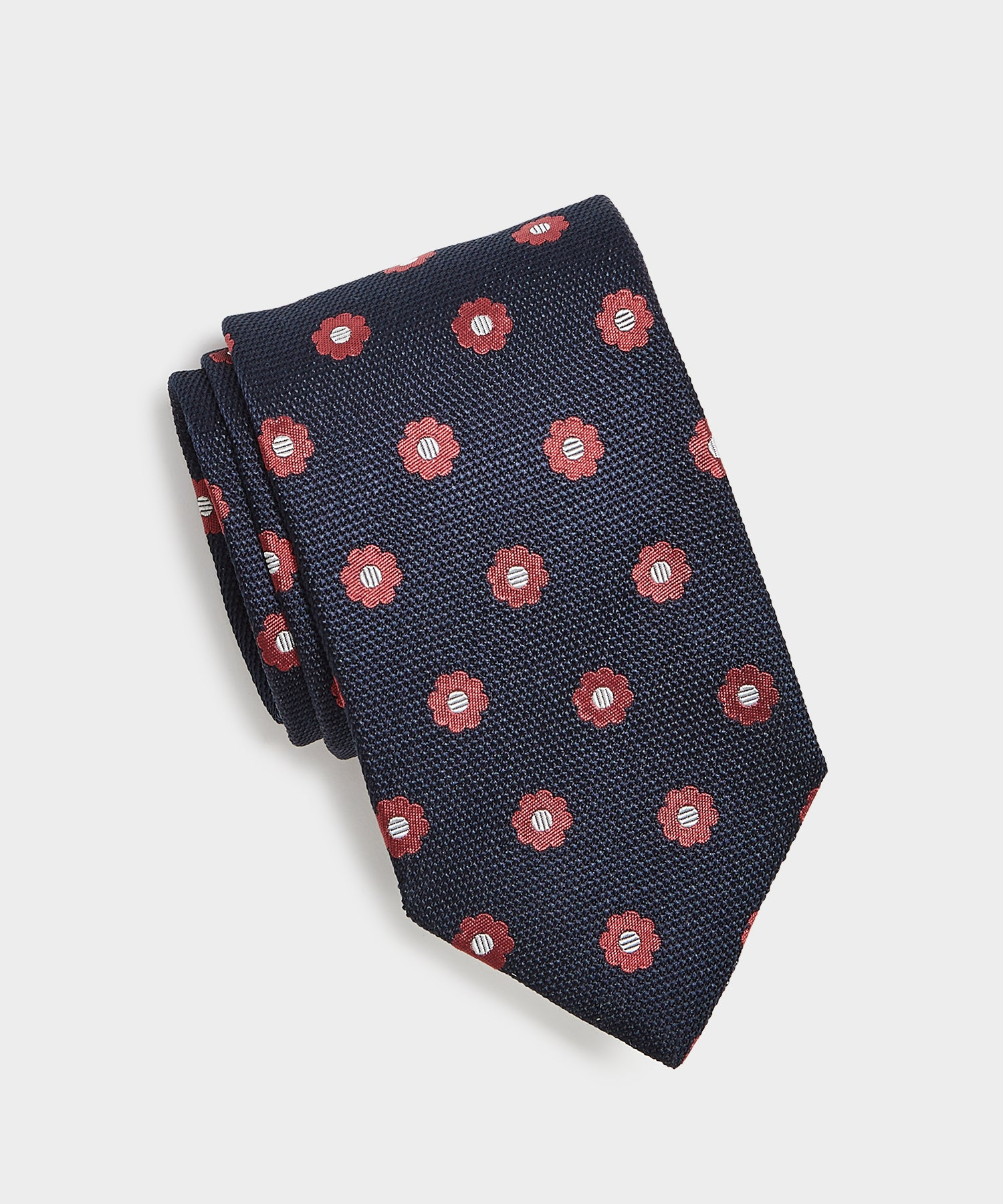 Drake's Silk Flower Pattern Tie in Navy