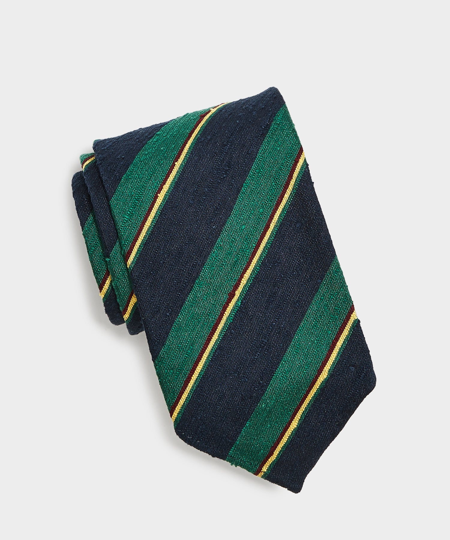 Drake's Summer Stripe Tie in Navy/Green