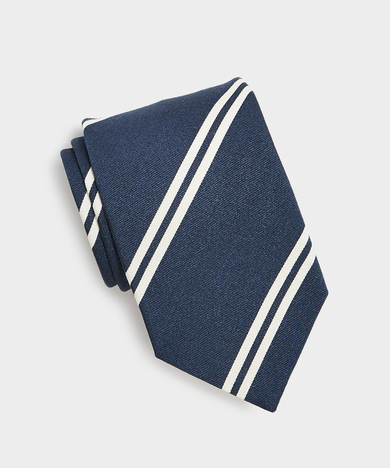 Drake's White Double Stripe Tie in Navy