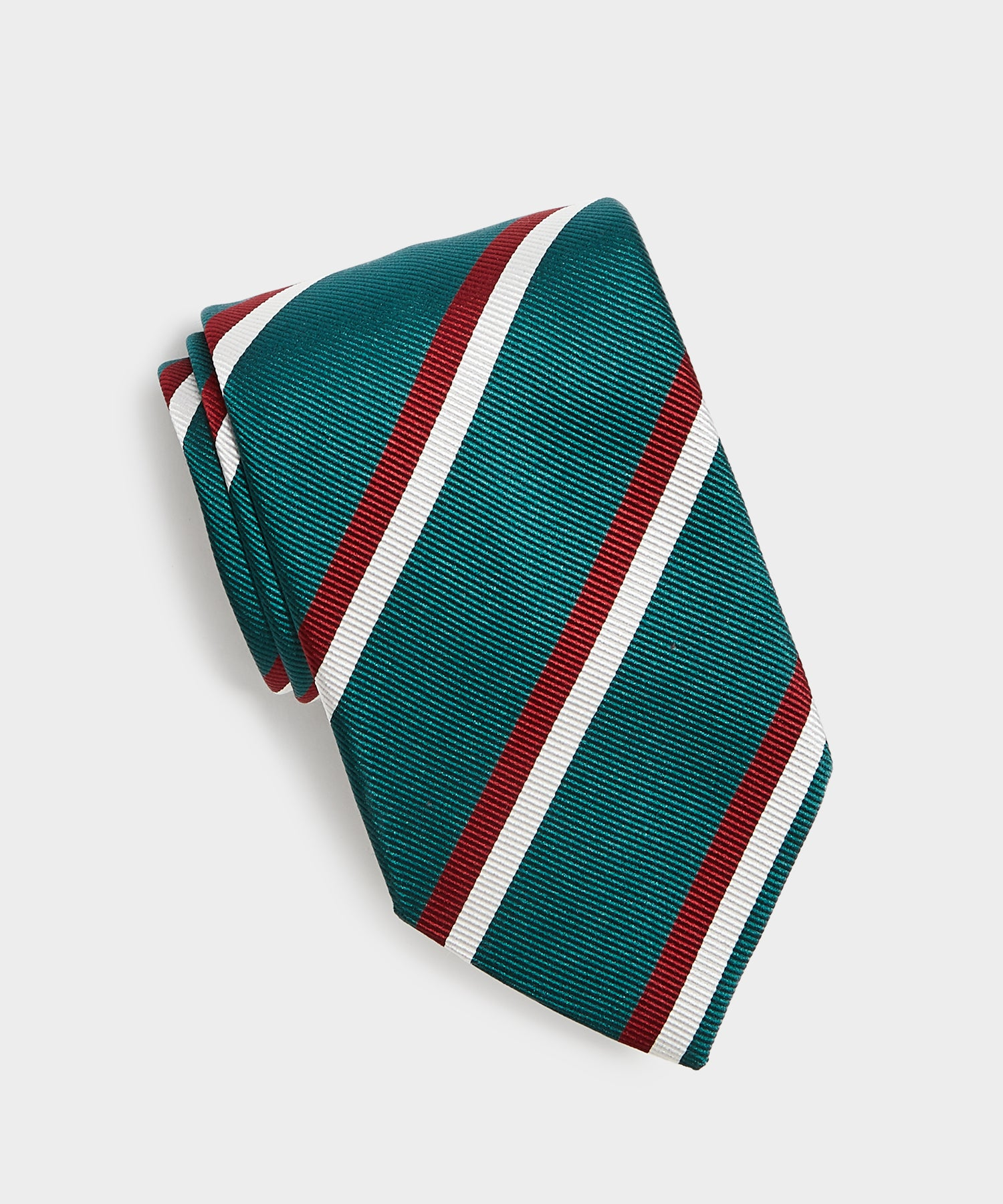 Drake's Double Stripe Repp Tie in Green