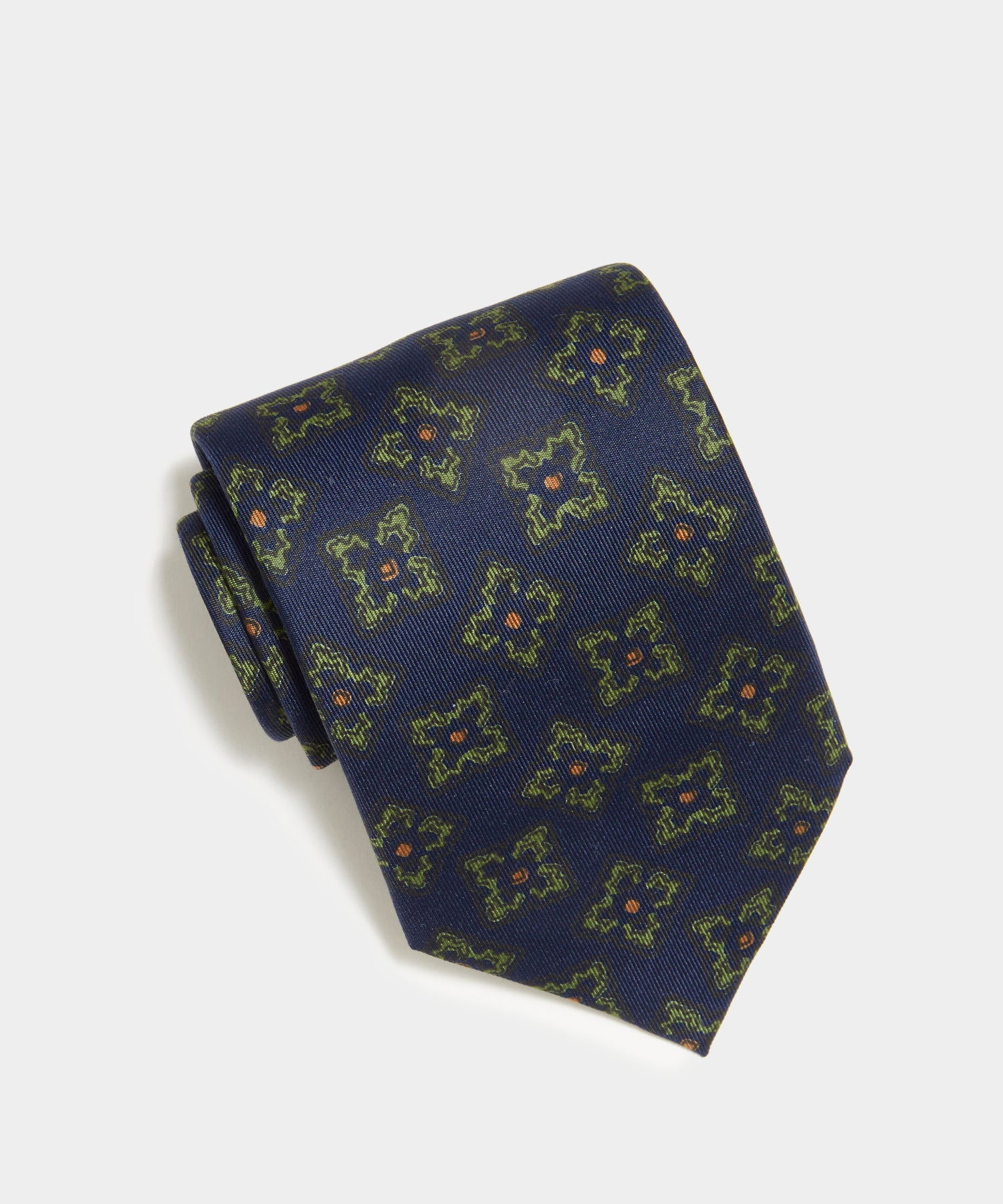 Drake's Navy Floral Silk Tie in Navy