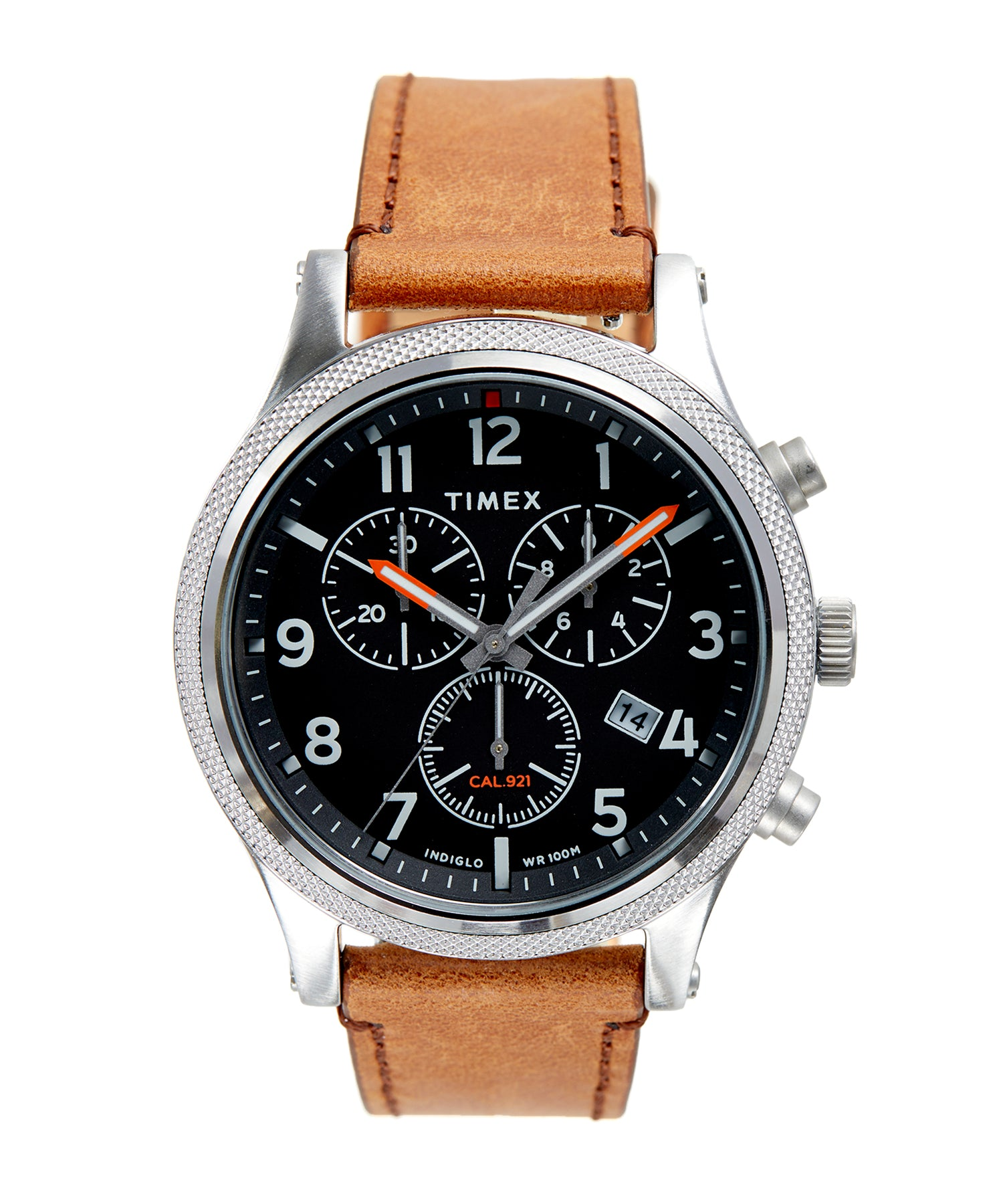 Timex Allied LT Chrono Brown Leather Black Dial 42mm