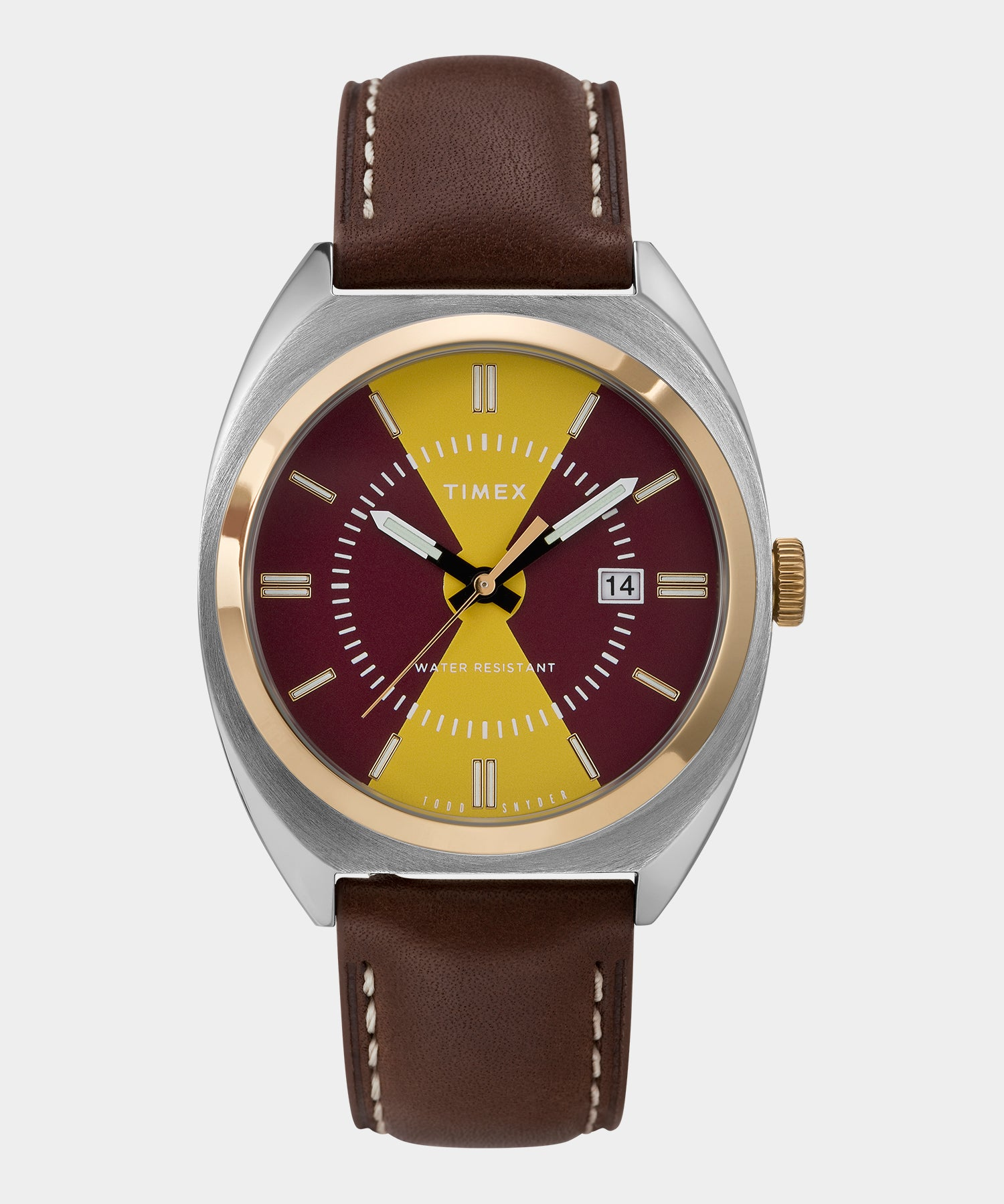 Timex + Todd Snyder Colorblock Milano Watch in Gold/Burgundy