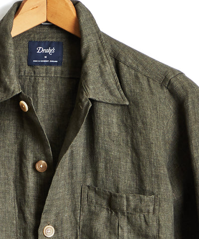 Drake's Linen Shirt Jacket in Olive
