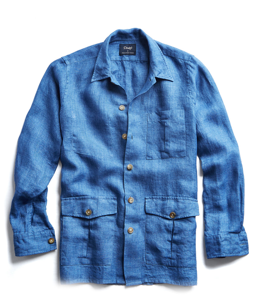 Drake's Linen Shirt Jacket in Blue