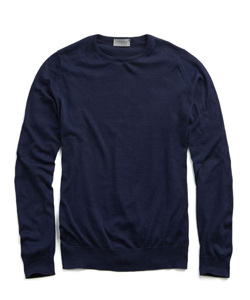 John Smedley Hatfield Cotton Crewneck Sweater in Navy