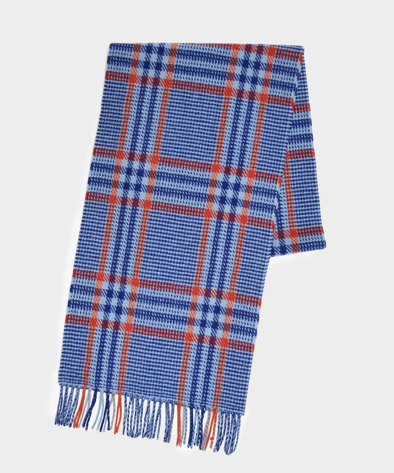 Joshua Ellis Cashmere Blue Red Multi Check Scarf