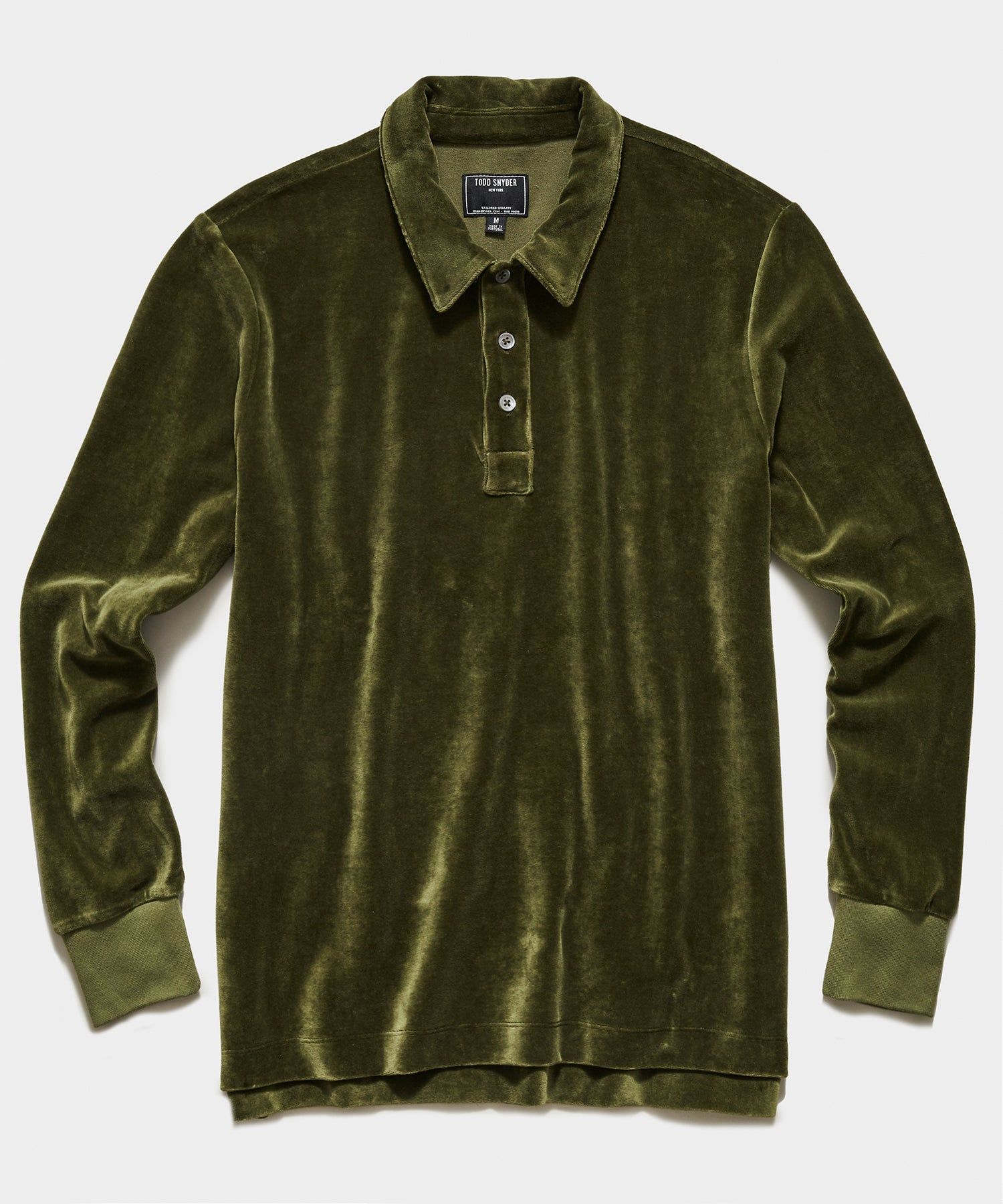 Velour Long Sleeve Polo in Olive